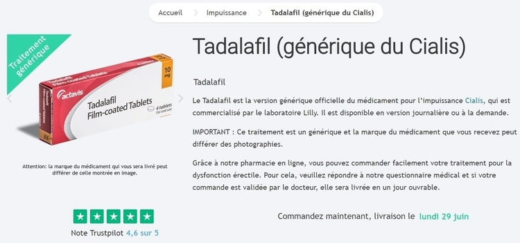 Acheter du Tadalafil (Cialis générique)
